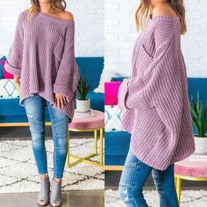 COCO Oversized Chenille Sweater - MAUVE